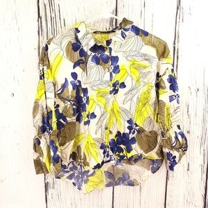 Zara | Zara Basic Floral Button Up Bell Sleeve Top